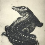 Crocodile (a collagraph print)
