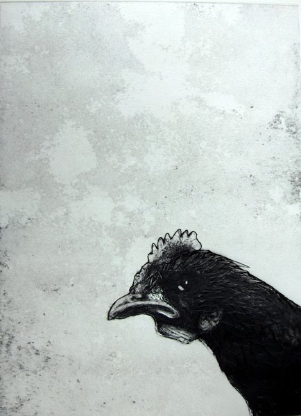 Hen (collagraph print)