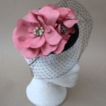 Black Wool Felt Hat with Handmade Silk Flowers