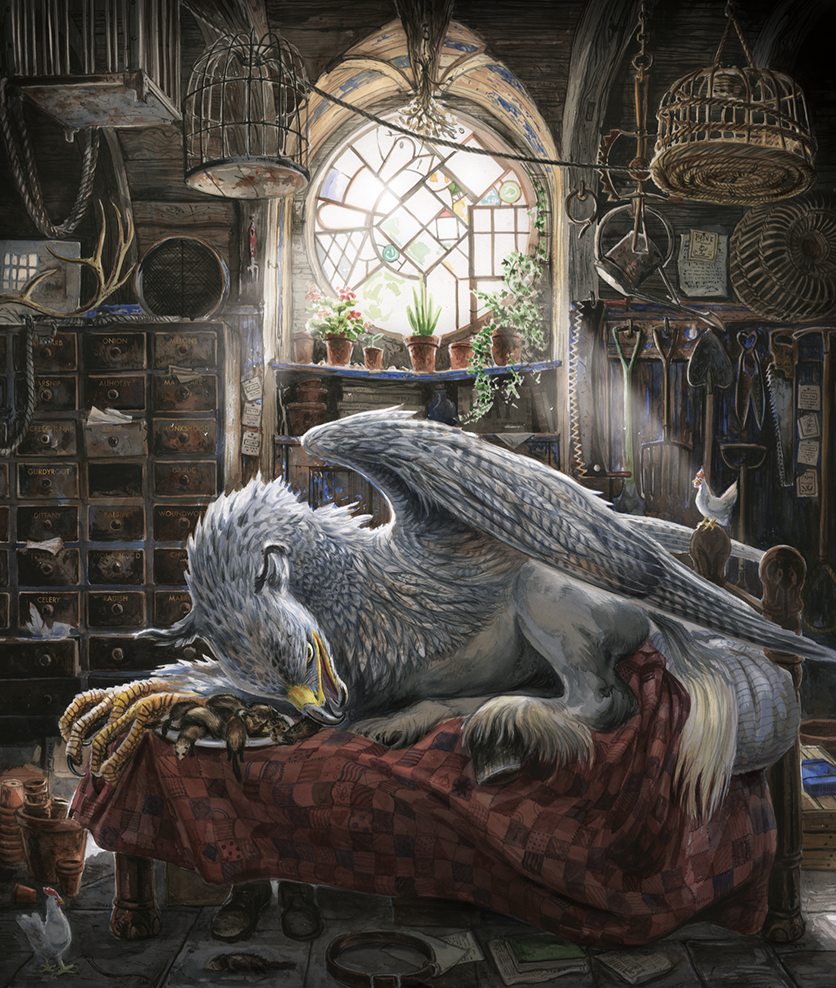 Buckbeak on Hagrid's Bed